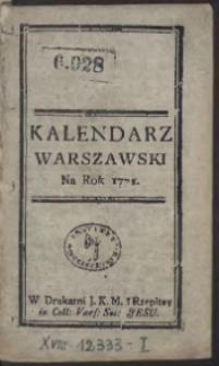 Kalendarz Warszawski Na Rok 1771
