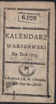 Kalendarz Warszawski Na Rok 1773