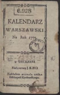 Kalendarz Warszawski Na Rok 1775