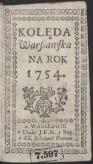 Kolęda Warszawska Na Rok 1754