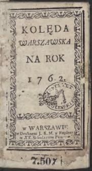 Kolęda Warszawska Na Rok 1762