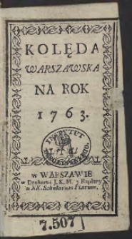 Kolęda Warszawska Na Rok 1763