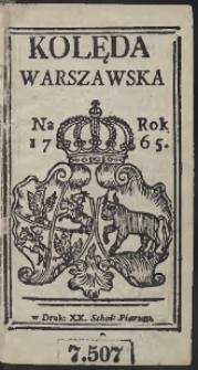 Kolęda Warszawska Na Rok 1765