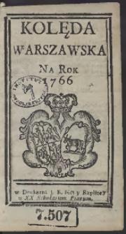 Kolęda Warszawska Na Rok 1766