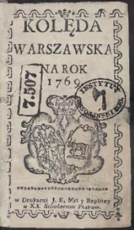 Kolęda Warszawska Na Rok 1769