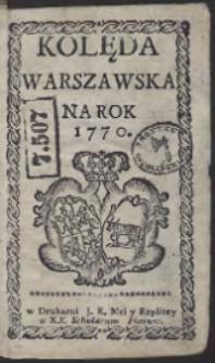 Kolęda Warszawska Na Rok 1770