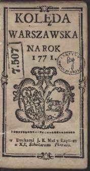 Kolęda Warszawska Na Rok 1771