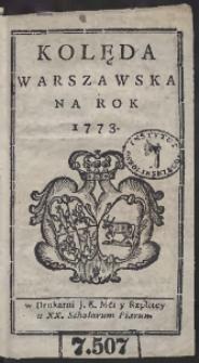 Kolęda Warszawska Na Rok 1773