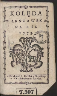 Kolęda Warszawska Na Rok 1775
