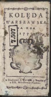 Kolęda Warszawska Na Rok 1777