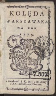 Kolęda Warszawska Na Rok 1779