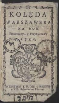 Kolęda Warszawska Na Rok 1780