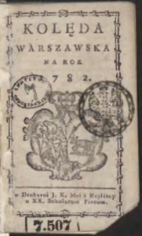 Kolęda Warszawska Na Rok 1782