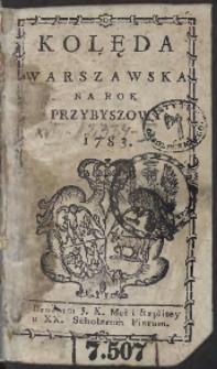 Kolęda Warszawska Na Rok 1783