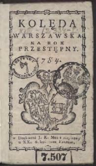 Kolęda Warszawska Na Rok 1784