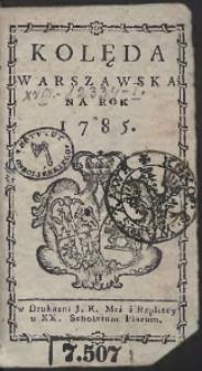 Kolęda Warszawska Na Rok 1785