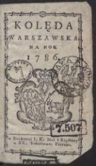 Kolęda Warszawska Na Rok 1786