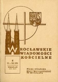 Wrocławskie Wiadomości Kościelne. R. 44 (1991), nr 4