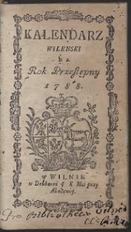 Kalendarz Wileński Na Rok 1788