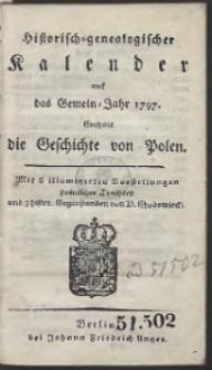 Historisch-Genealogischer Calender auf das […] Jahr 1797 […]