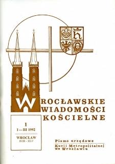 Wrocławskie Wiadomości Kościelne. R. 45 (1992), nr 1