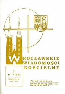 Wrocławskie Wiadomości Kościelne. R. 45 (1992), nr 2