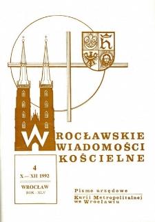 Wrocławskie Wiadomości Kościelne. R. 45 (1992), nr 4
