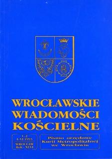 Wrocławskie Wiadomości Kościelne. R. 46 (1993), nr 1/2