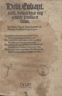 Helii Eobani [...] Sylvae duae nup[er] editae Prussia et Amor