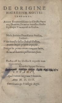 De Origine Haeresium Nostri Temporis [...]