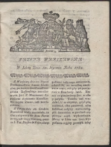 Gazeta Warszawska. R.1784 Nr 3