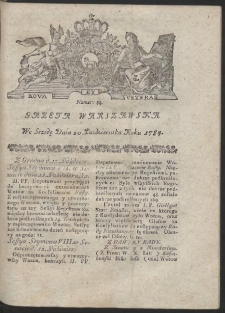 Gazeta Warszawska. R.1784 Nr 84