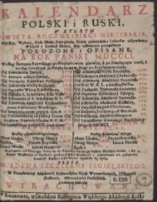 Kalendarz Polski i Ruski : W Ktorym Swięta Roczne i Biegi Niebieskie […] Połozone i Opisane Na Rok […] 1751 […]
