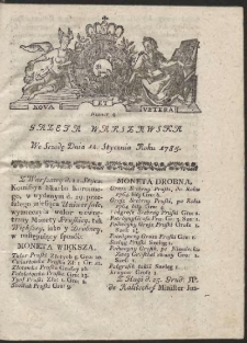 Gazeta Warszawska. R.1785 Nr 4