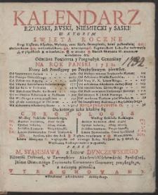 Kalendarz Rzymski, Rvski, Niemiecki y Saski […] Na Rok […] 1732 […] / Przez […] Stanisława z łazów Dvnczewskiego […] Wyrachowany