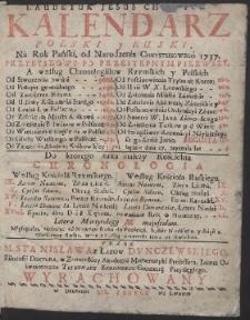 Kalendarz Polski y Rvski Na Rok […] 1737 […] / Przez […] Stanisława z Łazów Dvnczewskiego […] Wyrachowany