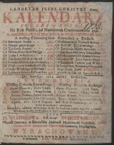 Kalendarz Polski y Rvski Na Rok […] 1738 […] / Przez […] Stanisława z Łazów Dvnczewskiego […] Wyrachowany