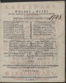 Kalendarz Polski y Ruski Na Rok […] MDCCXLV […] / Przez […] Stanisława z Łazów Dunczewskiego […] Wyrachowany