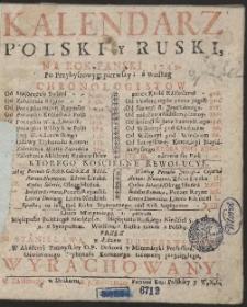 Kalendarz Polski y Ruski Na Rok […] 1749 […] / Przez […] Stanisława z Łazów Dunczewskiego […] Wyrachowany