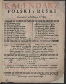 Kalendarz Polski y Ruski Na Rok […] 1756 […] / Przez […] Stanisława z Łazów Dunczewskiego […] Wyrachowany