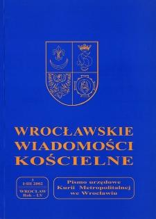Wrocławskie Wiadomości Kościelne. R. 55 (2002), nr 1