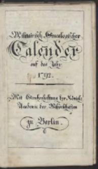 Militarisch-Genealogischer Calender auf das Jahr 1792...