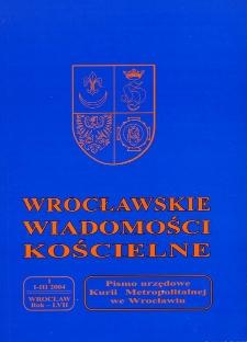Wrocławskie Wiadomości Kościelne. R. 57 (2004), nr 1