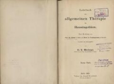 Lehrbuch der allgemeinen Therapie der Haussaeugetiere. 1 Theil
