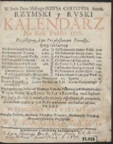 Rzymski y Ruski Kalendarz Na Rok Pański 1716. […]