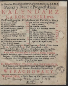 Kalendarz Na Rok Panski 1721. […]