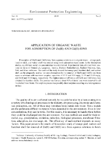 Application of organic waste for adsorption of Zn(II) and Cd(II) ions