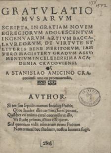 Gratulatio Musarum Scripta In Gratiam Novem Egregiorum Adolescentum Ingenvarum Artium Baccalaureorum [...]