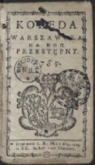 Kolęda Warszawska Na Rok Przestępny. 1784