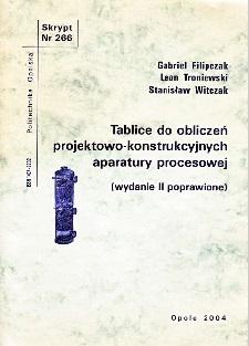 Tablice do obliczeń projektowo-konstrukcyjnych aparatury procesowej (wydanie II poprawione)